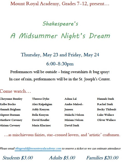 A Midsummer Night's Dream Presentation Upcoming